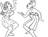 Dibujo de Mujeres bailando para colorear