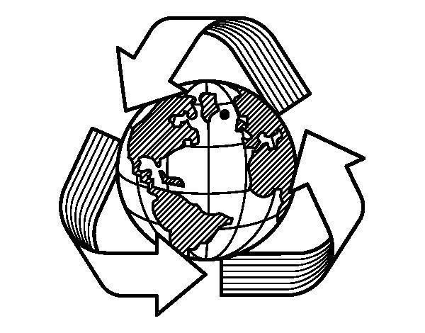 Dibujo de Mundo Reciclaje para Colorear