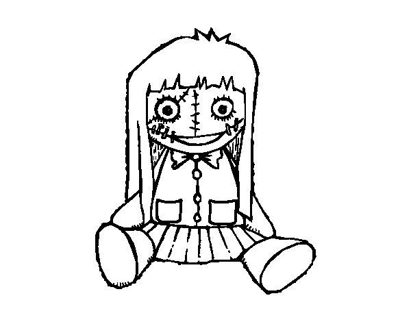 Dibujo de Muñeca terrorífica para Colorear