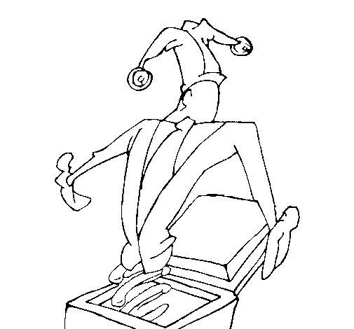Dibujo de Muñeco caja sorpresa para Colorear