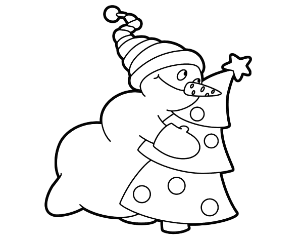 Dibujo de Muñeco de nieve abrazando árbol para Colorear