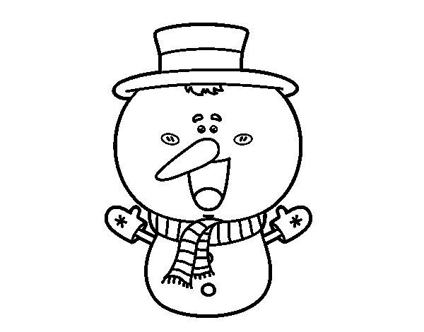 Dibujo de Muñeco de nieve cabezón para Colorear