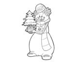 Dibujo de Muñeco de nieve con árbol de navidad para colorear