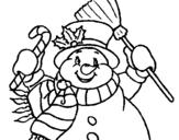 Dibujo de Muñeco de nieve con bufanda para colorear