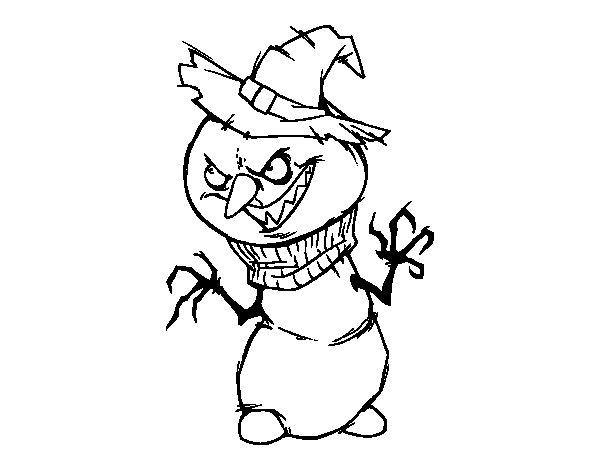 Dibujo de Muñeco de nieve malvado para Colorear