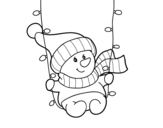 Dibujo de Muñequito de nieve columpiándose para colorear