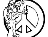 Dibujo de Músico hippy