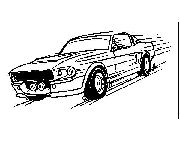 Dibujo de Mustang retro para Colorear