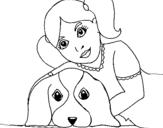 Dibujo de Niña abrazando a su perro