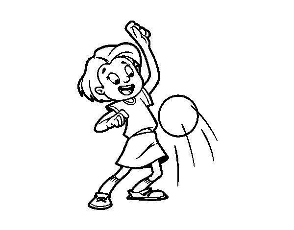 Dibujo de Niña botando la pelota para Colorear
