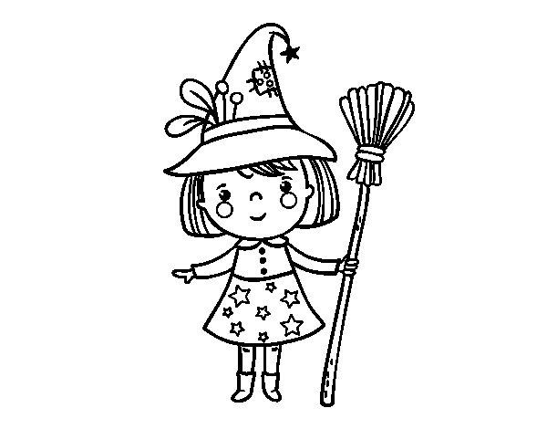 Dibujos Para Colorear De Calabazas De Halloween Para Imprimir: Dibujo De Niña Bruja De Halloween Para Colorear