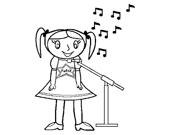 Dibujo de Niña cantando para Colorear