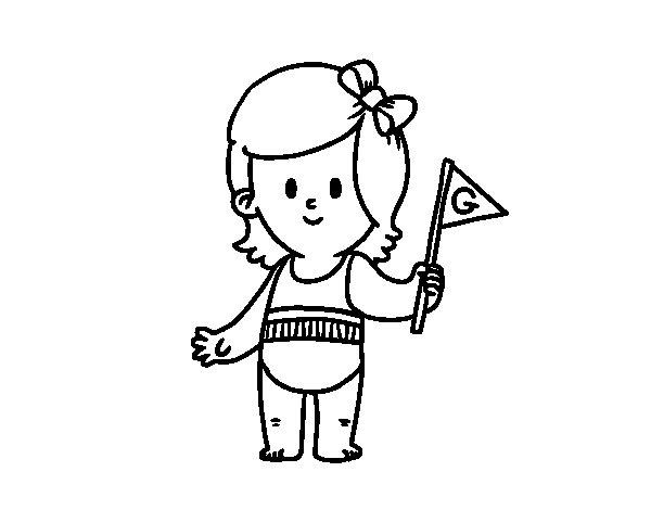 Imagenes Para Colorear De Niña: Dibujo De Niña Con Banderín Para Colorear