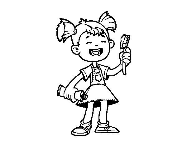 Dibujo de Niña con cepillo de dientes para Colorear