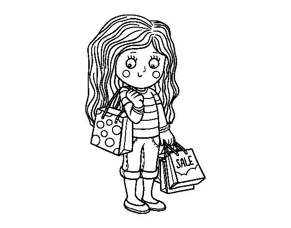 dibujo de ni u00f1a con compras de verano para colorear
