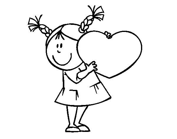 Dibujo De Niña Con Corazón Para Colorear