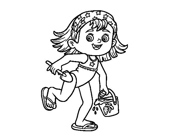Imagenes Para Colorear De Niña: Dibujo De Niña Con Cubo Y Pala De Playa Para Colorear