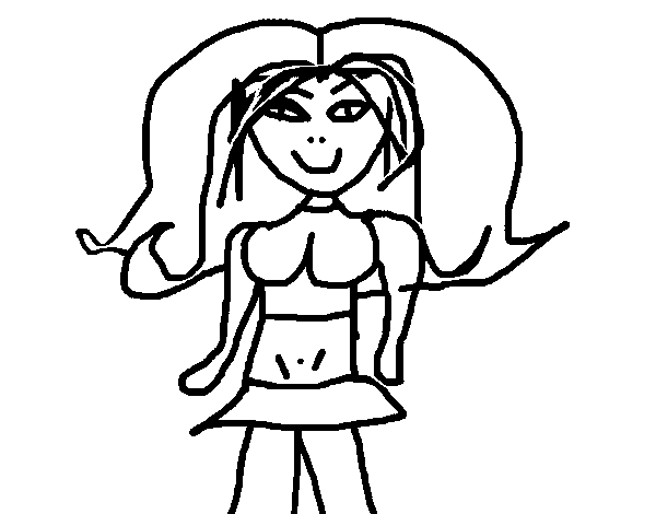 Dibujo de Niña con falda para Colorear