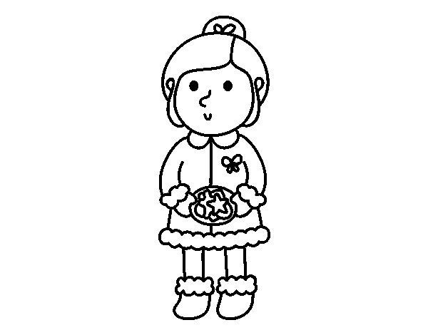 Dibujo de Niña con galletas para Colorear