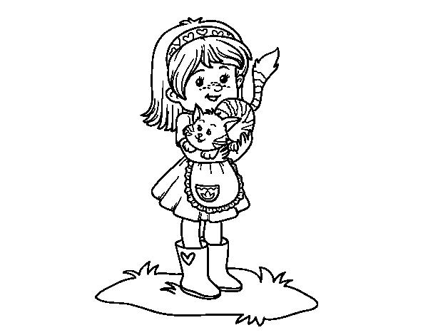Dibujo De Niña Con Gatito Para Colorear