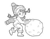 Dibujo de Niña con gran bola de nieve para colorear