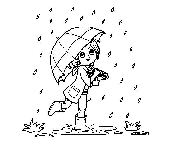 Dibujo Para Colorear De Niñas: Dibujo De Niña Con Paraguas Bajo La Lluvia Para Colorear
