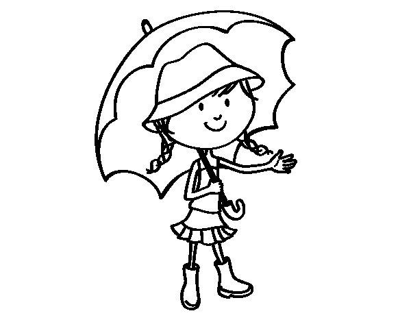 Dibujo de Niña con paraguas para Colorear