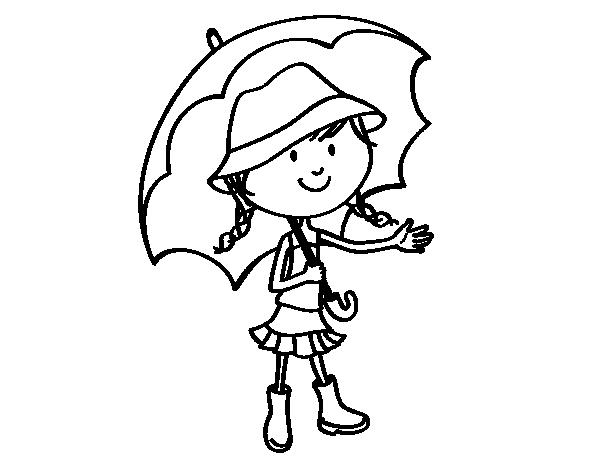 Dibujos De Paraguas Para Colorear E Imprimir: Dibujo De Niña Con Paraguas Para Colorear
