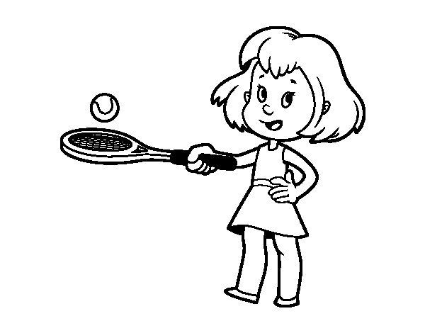 Dibujo de Niña con raqueta para Colorear