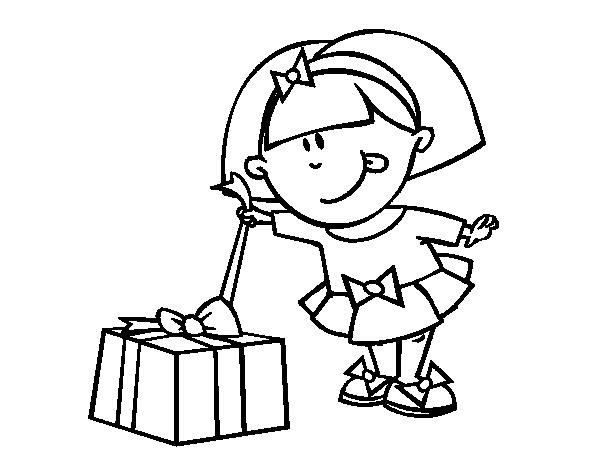 Niño Abriendo Un Regalo Dibujos Para Pintar: Dibujo De Niña Con Regalo Para Colorear