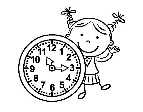 Dibujo de Niña con reloj para Colorear