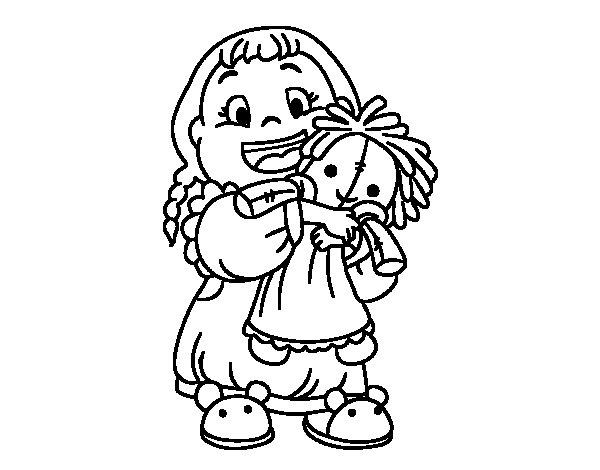Dibujo de Niña con su muñeca para Colorear