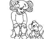 Dibujo de Niña con su perrito para colorear