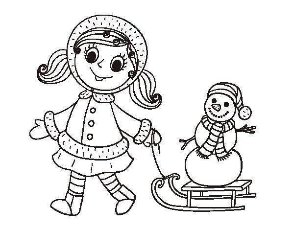 Muñeco De Nieve Dibujo: Dibujo De Niña Con Trineo Y Muñeco De Nieve Para