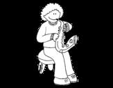 Dibujo de Niña con trompeta para colorear