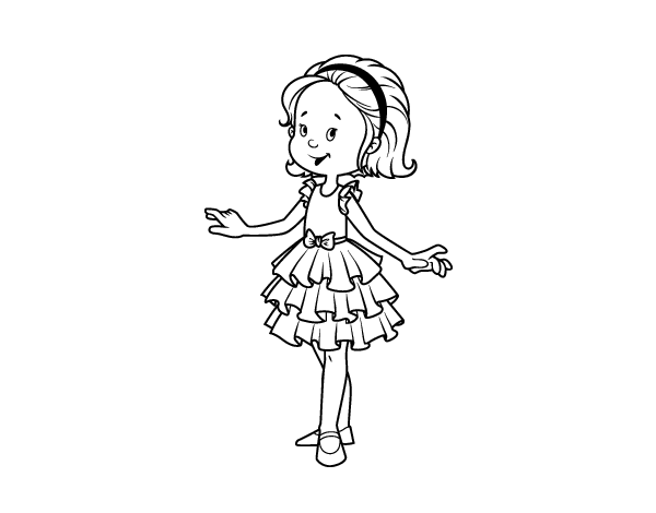 Dibujos De Niña Para Colorear E Imprimir: Dibujo De Niña Con Vestido De Fiesta Para Colorear