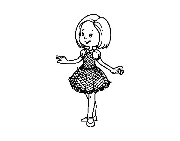 Dibujo Para Colorear De Niñas: Dibujo De Niña Con Vestido De Princesa Para Colorear