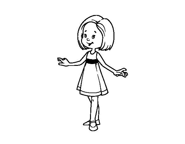 Dibujo Para Colorear De Niñas: Dibujo De Niña Con Vestido De Verano Para Colorear