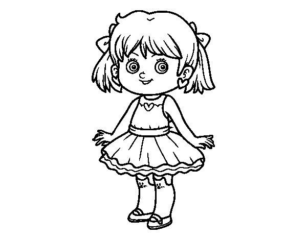 dibujo de ni a con vestido moderno para colorear   dibujos