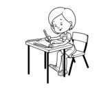 Dibujo de Niña en su pupitre para colorear