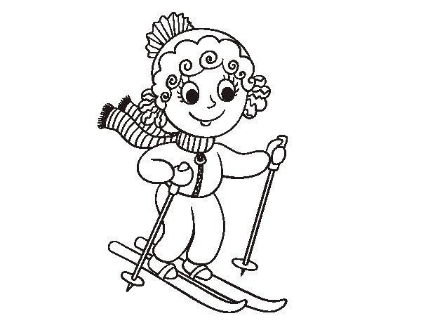 Dibujo de Niña esquiadora para Colorear