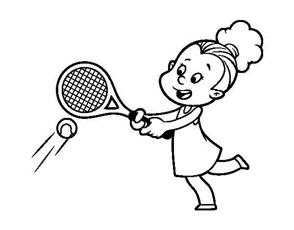 Dibujo De Niña Jugando A Tenis Para Colorear