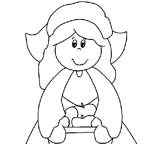 Dibujo de Niña peregrina para Colorear