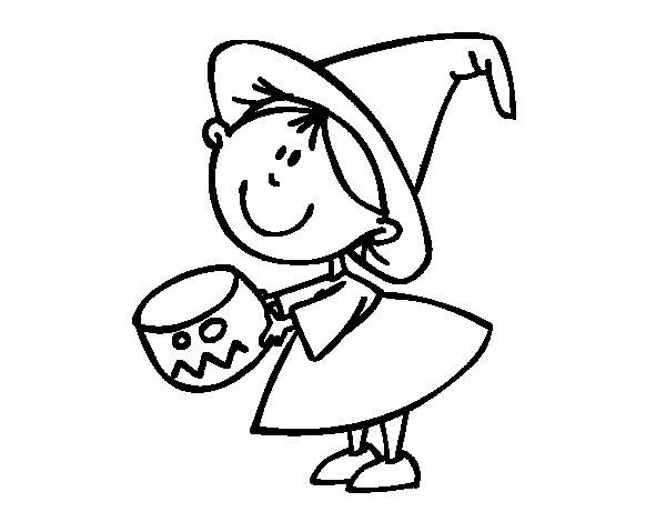 Dibujo de Niña pidiendo caramelos para Colorear
