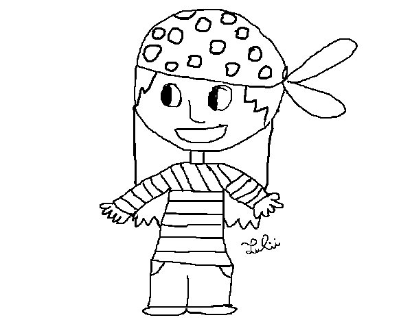 Worksheet. Dibujo de Nia pirata para Colorear  Dibujosnet