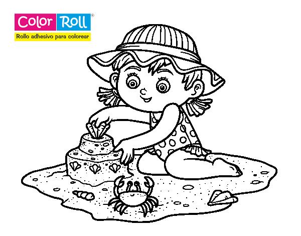 Dibujo De Niña Playera Color Roll Para Colorear
