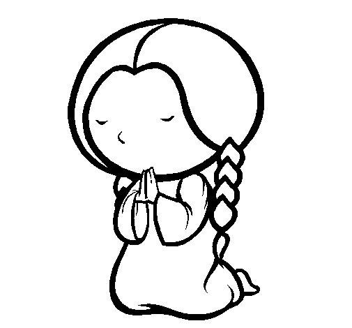 Dibujo de Nia rezando para Colorear  Dibujosnet