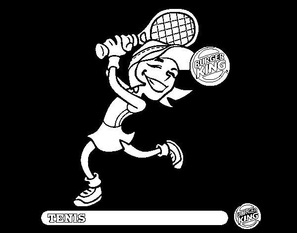 Dibujo de Niña-Tenis para Colorear