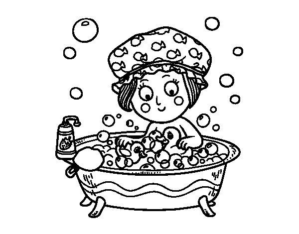 dibujo de niña tomando un baño para colorear - dibujos.net - Imagenes De Un Bano Para Colorear