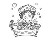 Dibujo de Niña tomando un baño para colorear